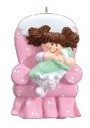 2306 Big Sister Chair with Brown Hair Hand Personalized Christmas Ornament