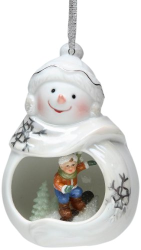 Appletree Design Child Scene Snowman Ornament, 4-1/4-Inch Tall, Includes String for Hanging