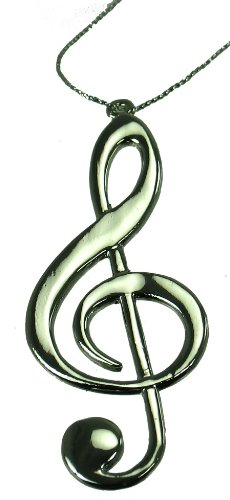 3.125″ Musical G Clef Christmas Ornament (Silver)