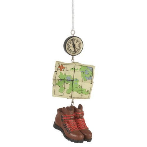 Hiking Boots Map and Compass Christmas Tree Ornament