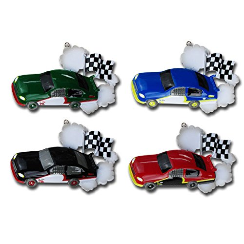 Child Race Car Red Personalized Christmas Tree Ornament