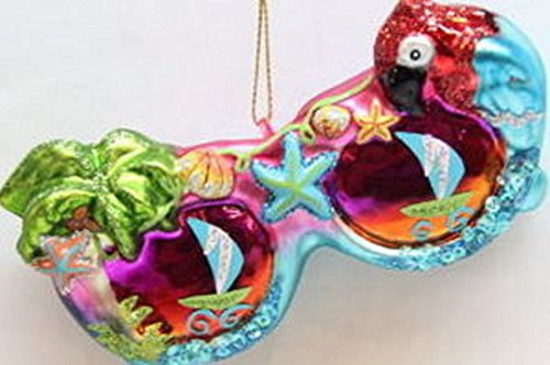 December Diamonds Tropical Colorful Blown Glass Sunglass Ornament with Parrot, Palm Fish, & Sailboat Reflections…Beautiful!