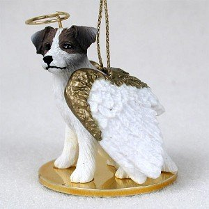 Jack Russell Terrier Angel Dog Ornament Roughcoat Brown and White