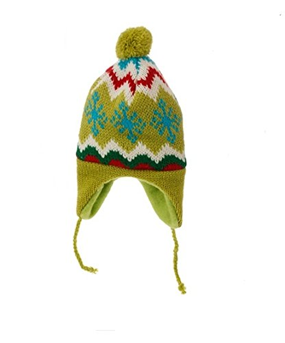 8.75″ Merry & Bright Nordic Green Knit Ear Flap Winter Hat Christmas Ornament