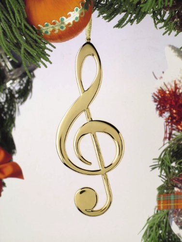 Music Treasures Co. Treble Clef Christmas Ornament (Gold)