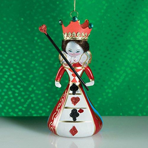 De Carlini Queen of Hearts Italian Mouthblown Christmas Ornament