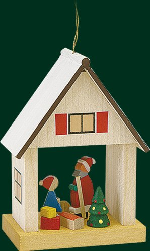 Hanging Christmas Tree House Shaped Ornament Santa Claus, 3.2 Inches