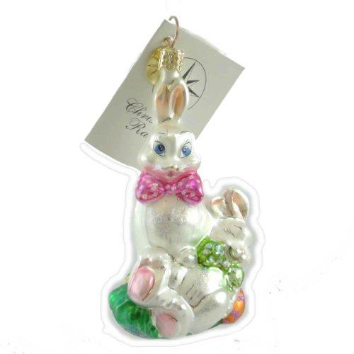 Christopher Radko BUNNY SNOOZE Blown Glass Ornament Easter Eggs Spring
