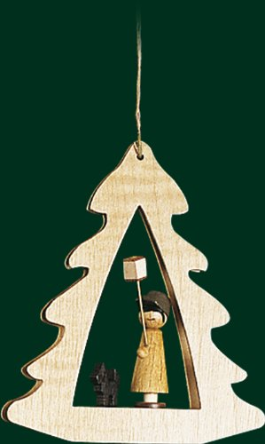 Hanging Christmas Tree Shaped Ornament Boy Holding Stick Lantern, 3.4 Inches