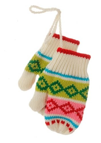 5″ Merry & Bright Green, Pink and White Knit Pair of Mittens Christmas Ornament