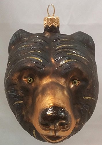Christinas World Brown Bear Head Figural Polish Glass Christmas Ornament