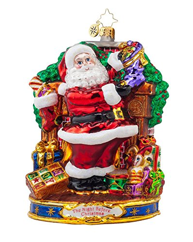 Christopher Radko Glass Straight to Work Santa Christmas Ornament #1017974