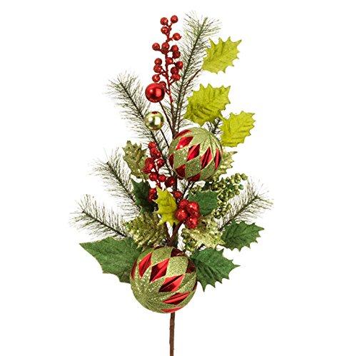 RAZ Imports – 28″ Christmas Holly Christmas Ornament Ball Spray