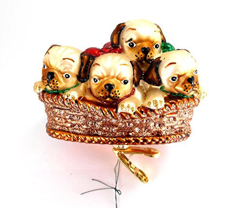Old World Christmas Pile of Puggles Pug Puppy Clip-on Ornament