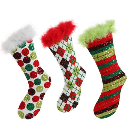 RAZ Imports – Flocked Red, White & Green Christmas Stocking Ornaments 12″