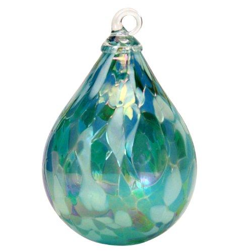 Glass Eye Studio Hand Blown Glass Raindrop Ornament – Jade Mosiac