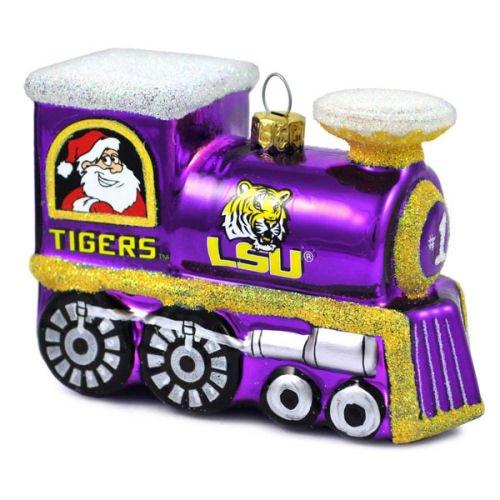 LSU Tigers Blown Glass Train Ornament
