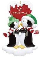 Our First Christmas Kissing Penguins Personalized Ornament