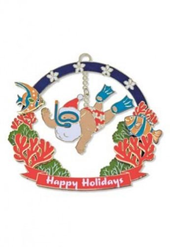 Hawaiian 3D Metal Christmas Ornament – Snorkeling Santa