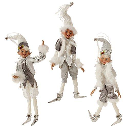 RAZ Imports 16″ Posable Elf Ornament (Set of 3) Silver & White