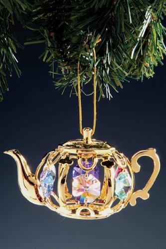 Teapot Swarovski Crystal 24k Gold Plated Ornament