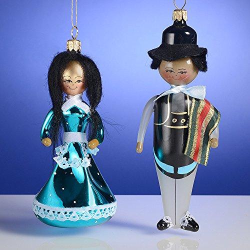 De Carlini South American Folklore Couple Italian Mouthblown Glass Ornaments