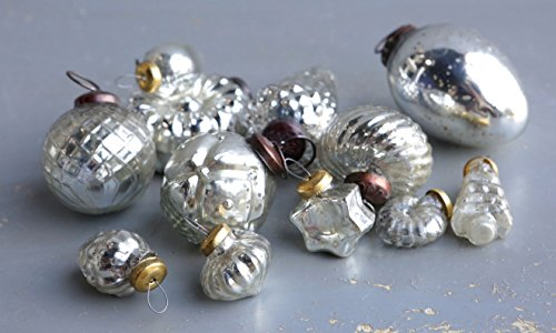 Set of 12 Mercury Glass Antique Silver Christmas Ornaments