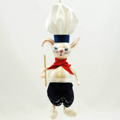 De Carlini Rabbit Cook Ornament Chef Bunny – Blown Glass 6.50 IN
