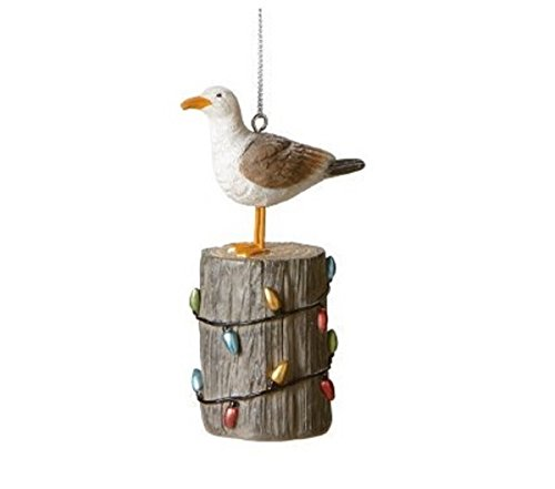 Seagull on Pier with Christmas Lights Ornament.