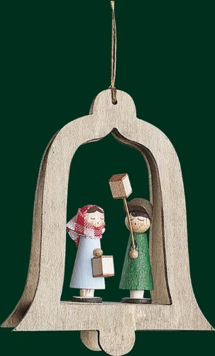Hanging Christmas Tree Ornament Lantern Kids in Bell, 3.4 Inches