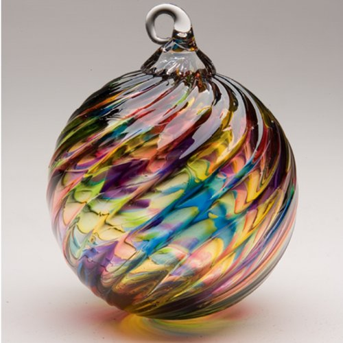 Glass Eye Studio Hand Blown Glass Ornament – Rainbow Twist