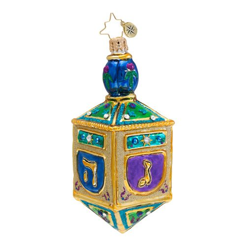 Christopher Radko Glass Jewish Sacred Spinner Dreidel Hanukkah Ornament #1016682