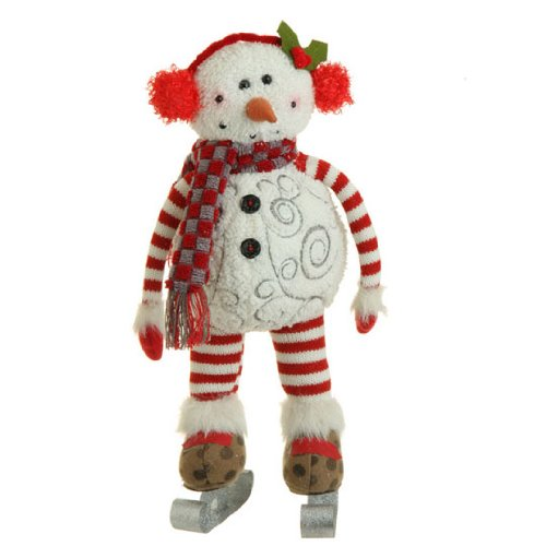 RAZ Imports – 15″ Winter / Christmas Skating Snowman Table Display / Decoration / Ornament