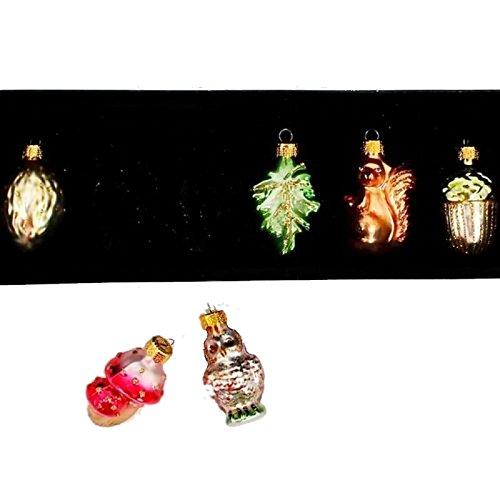 Set 6 1.75″ Glass Miniature Rustic Squirrel Acorn Leaf Owl Christmas Ornament