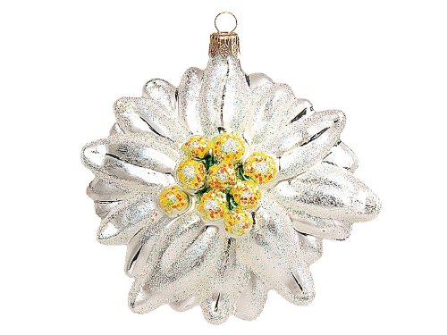 Edelweiss Flower Polish Mouth Blown Glass Christmas Ornament