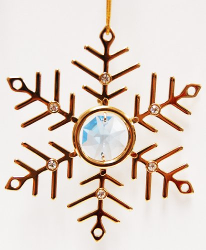 24K Gold Plated Hanging Sun Catcher or Ornament….. Snowflake with Blue Swarovski Austrian Crystal