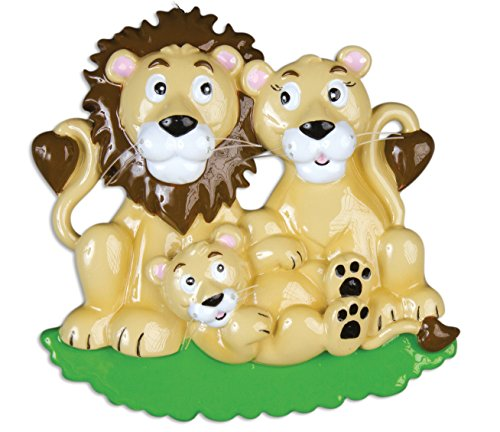 Personalized Christmas Ornament FAMILY SERIES – LION FAMILY PRIDE OF 3