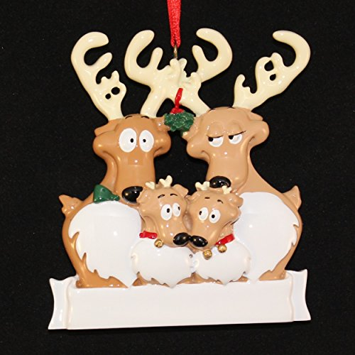 Rudolph Reindeer Family of 4 Personalized Christmas Ornament