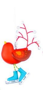 One Hundred 80 Degrees Bird with Skates Ornament, Choice of Styles (Blue  skates)
