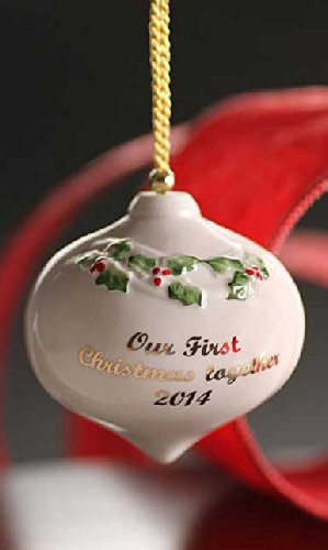 Belleek 4234 Our First Christmas Together Bauble 2014, 2.8-Inch, White
