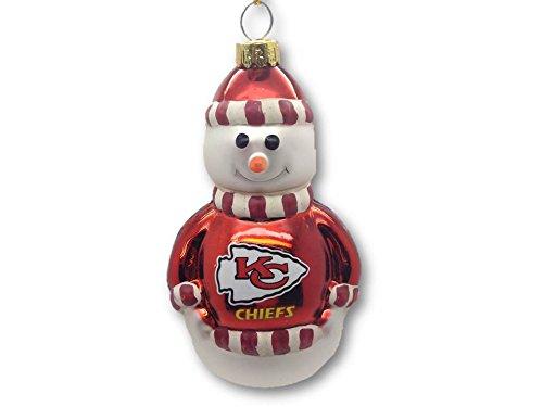 NFL Kansas City Chiefs Blown Glass Snowman Christmas Ornament
