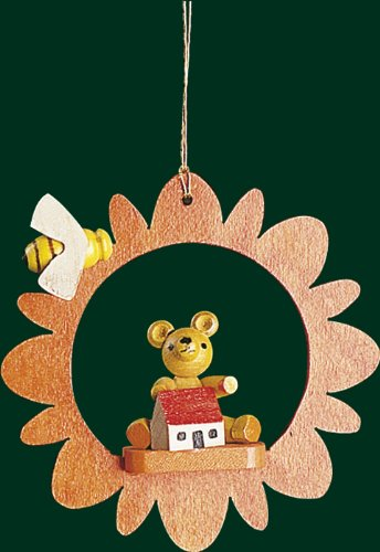 Hanging Christmas Tree Ornament Teddy with Bee, 3.4 Inches