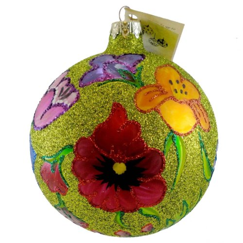 Christina's World GLITTERED POPPIES Blown Glass Ornament Ball Flower GAR 878