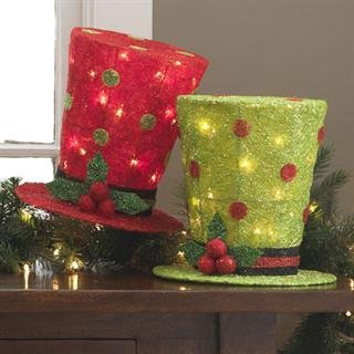 """Raz Imports lighted Top Hat Red or Green Christmas decoration 10 """""""