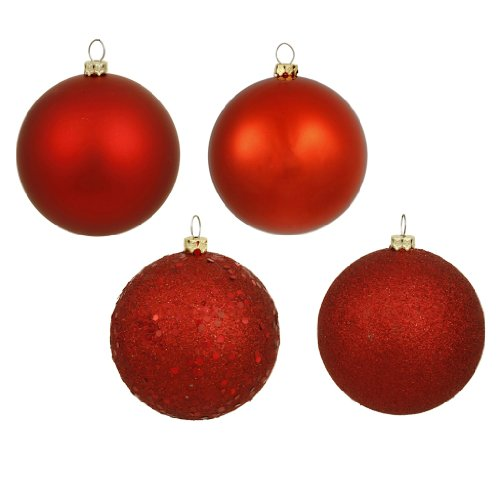 Vickerman 16353 – 3″ Red Matte Shiny Sequin Glitter Ball Christmas Tree Ornament (16 pack) (N590803)