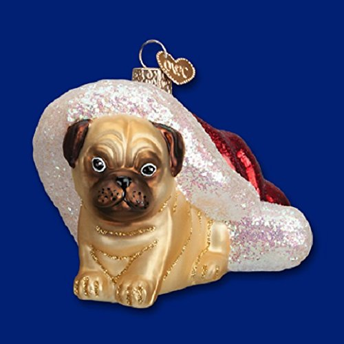 Old World Christmas Holiday Pug Puppy Dog Mouth Blown Glass Ornament