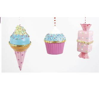 Ice Cream, Cupcake & Candy Hinged Trinket Box / Ornament, Set of 3, Pink