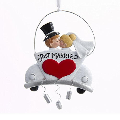 "Kurt Adler ""Just Married"" Couple Ornament for Personalization #D2489"