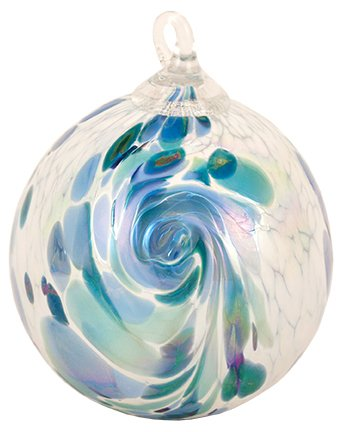 Glass Eye Studio Blue Hydrangea Feather Classic Ornament