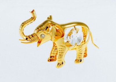 Elephant 24k Gold Plated Figure Ornament with Swarovski Crystals